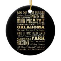 Oklahoma City of Oklahoma State Typography Art Ceramic Ornament