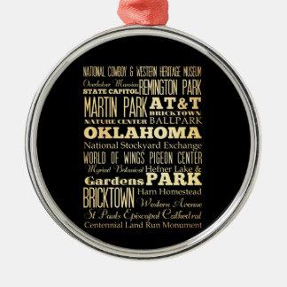 Oklahoma City of Oklahoma State Typography Art Metal Ornament
