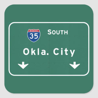 Oklahoma City ok Interstate Highway Freeway : Square Sticker
