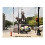 Oklahoma City Stockyards buffalo and cowboy Post Cards