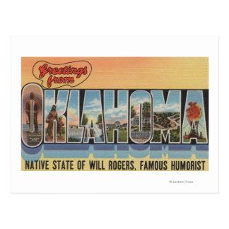Oklahoma (estado nativo de la voluntad Rodgers) Tarjeta Postal