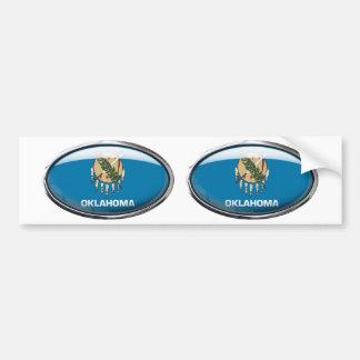 Oklahoma Flag Glass Oval Bumper Sticker