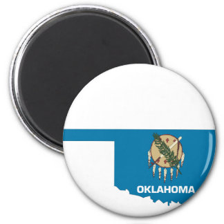 Oklahoma Flag Map 2 Inch Round Magnet