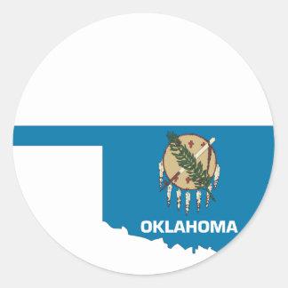 Oklahoma Flag Map Classic Round Sticker