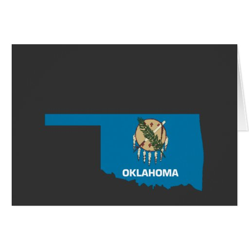 Oklahoma Flag Map Greeting Card