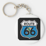 Oklahoma flag Route 66 Shield Basic Round Button Keychain
