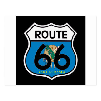 Oklahoma flag Route 66 Shield Postcard