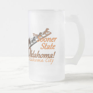 OKLAHOMA FROSTED GLASS BEER MUG