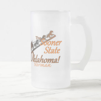 OKLAHOMA FROSTED GLASS BEER MUG