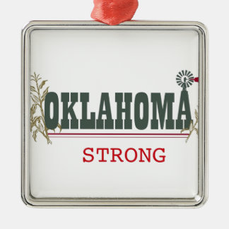 Oklahoma fuerte adorno navideño cuadrado de metal