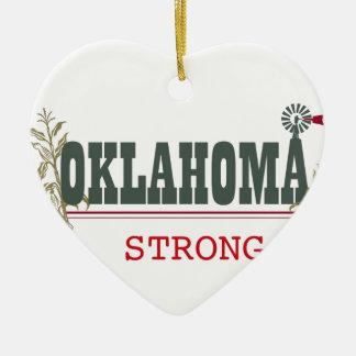 Oklahoma fuerte adorno navideño de cerámica en forma de corazón