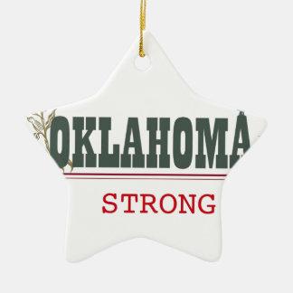 Oklahoma fuerte adorno navideño de cerámica en forma de estrella