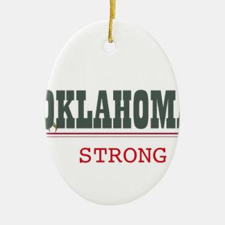 Oklahoma fuerte adorno navideño ovalado de cerámica