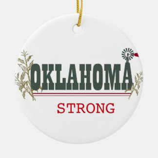 Oklahoma fuerte adorno navideño redondo de cerámica
