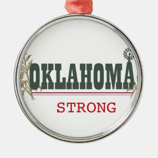 Oklahoma fuerte adorno redondo plateado