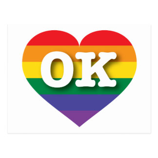 Oklahoma Gay Pride Rainbow Heart - Big Love Postcard