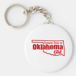 Oklahoma Girl Basic Round Button Keychain