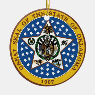 Oklahoma Great Seal Ceramic Ornament