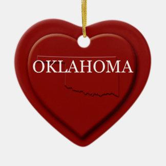 Oklahoma Heart Map Christmas Ornament