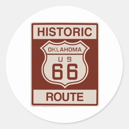 Oklahoma histórica RT 66 Pegatina Redonda