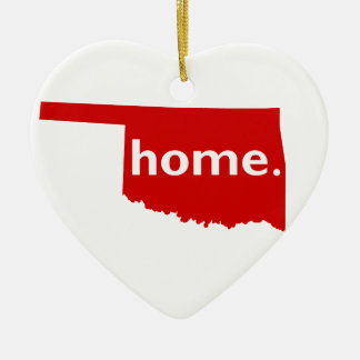 Oklahoma Home Double-Sided Heart Ceramic Christmas Ornament