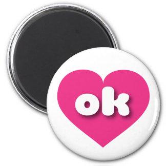 Oklahoma hot pink heart - mini love 2 inch round magnet