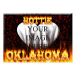 Oklahoma Hottie fire and red marble heart. Business Cards