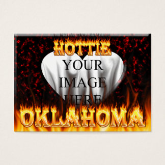 Oklahoma Hottie fire and red marble heart. Business Card