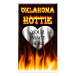 Oklahoma Hottie fire and red marble heart. Business Card Template