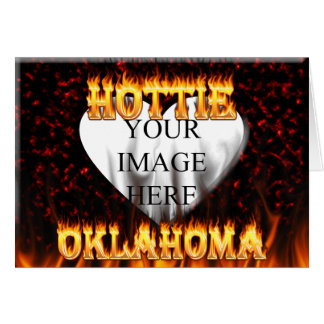 Oklahoma Hottie fire and red marble heart. Greeting Card