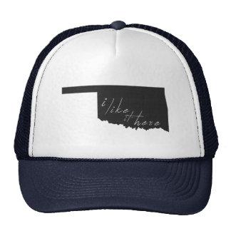 Oklahoma I Like It Here State Silhouette Black Trucker Hat
