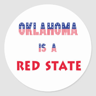 Oklahoma is a Red State Classic Round Sticker