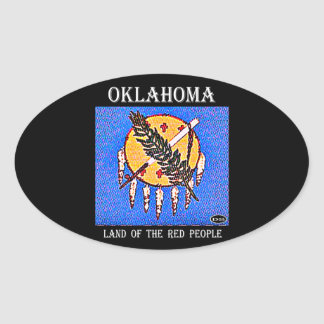 Oklahoma Land of the Red People Oval Sticker