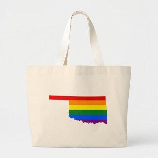 Oklahoma LGBT Flag Map Large Tote Bag