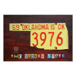 Oklahoma License Plate Map Print