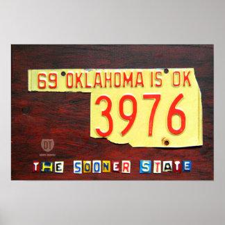 Oklahoma License Plate Map Print