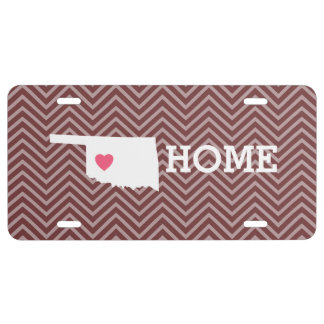 Oklahoma Map Home State Love with Optional Heart License Plate