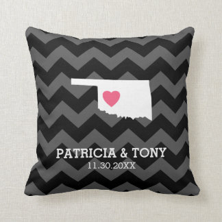 Oklahoma Map Home State Love with Optional Heart Throw Pillow