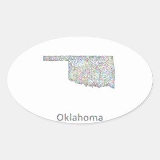 Oklahoma map oval sticker