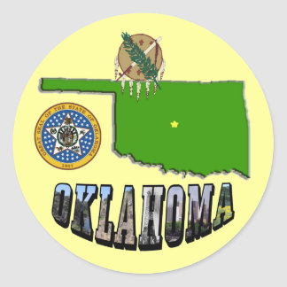 Oklahoma Map, seal and Picture Text Classic Round Sticker