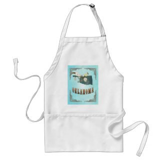 Oklahoma Map With Lovely Birds Adult Apron