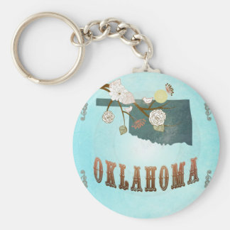 Oklahoma Map With Lovely Birds Basic Round Button Keychain