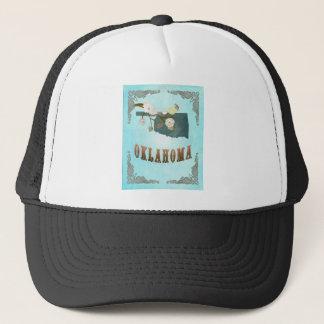 Oklahoma Map With Lovely Birds Trucker Hat