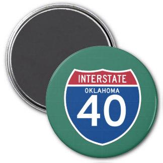 Oklahoma OK I-40 Interstate Highway Shield - 3 Inch Round Magnet