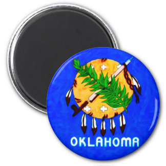 Oklahoma Painted Flag Products 2 Inch Round Magnet