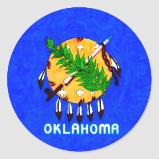 Oklahoma Painted Flag Products Classic Round Sticker