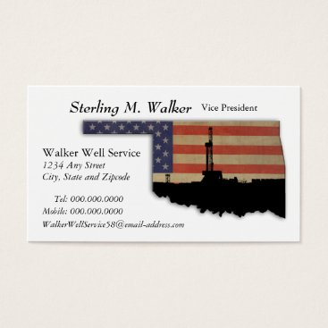 USA Themed Oklahoma Patriotic Oil Drilling Rig Business Card