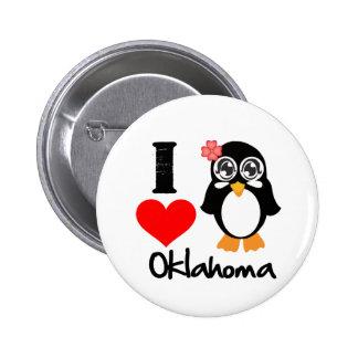 Oklahoma Penguin - I Love Oklahoma Button