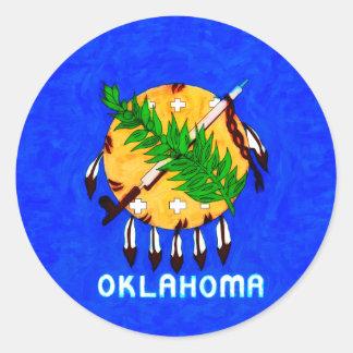 Oklahoma pintó productos de la bandera pegatina redonda
