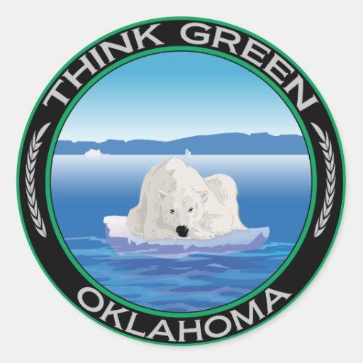 Oklahoma polar verde pegatina redonda